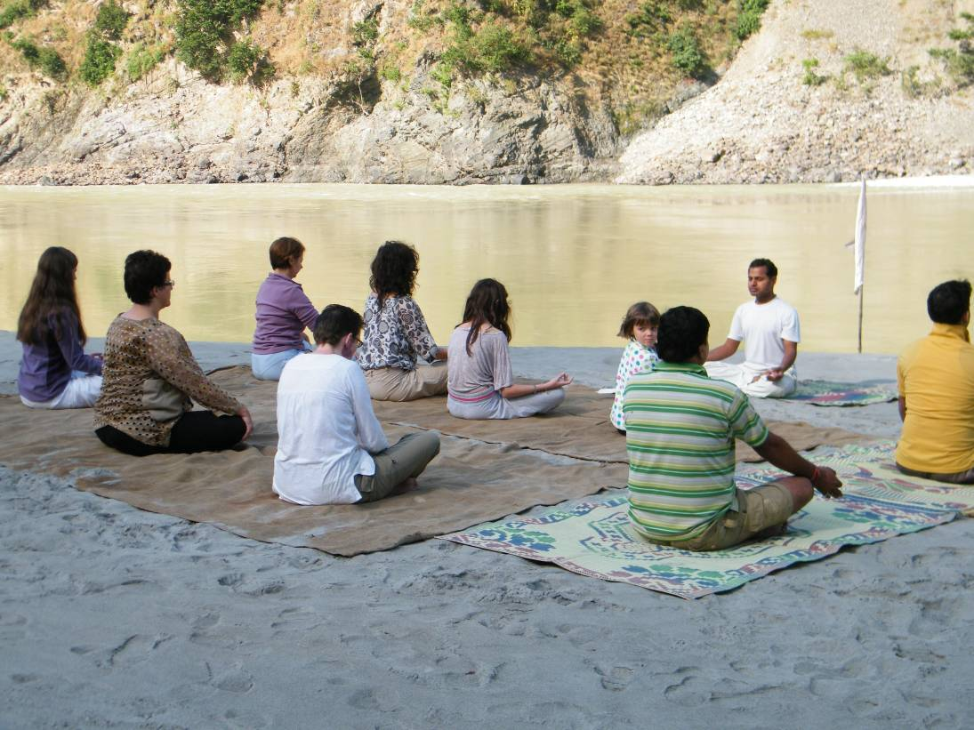 Yoga in Camp at Ganges, Rishikesh